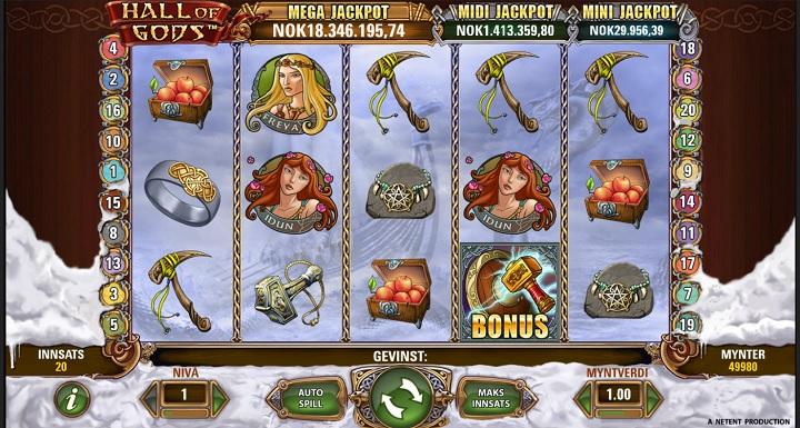 Hall of Gods jackpot spill fra NetEnt